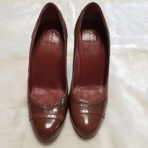 Coach Brown Patten Leather Block Heels - Size 6